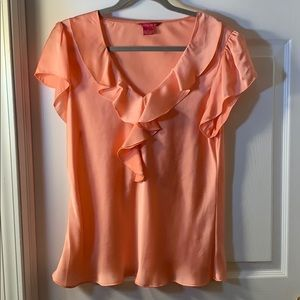 Sunny Leigh pink silky short sleeve top XL